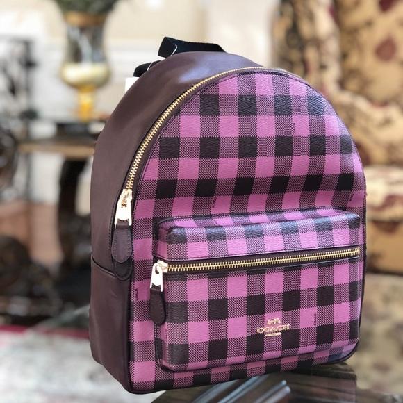 97447554db5c NWT Coach Gingham MD Charlie Plaid backpack